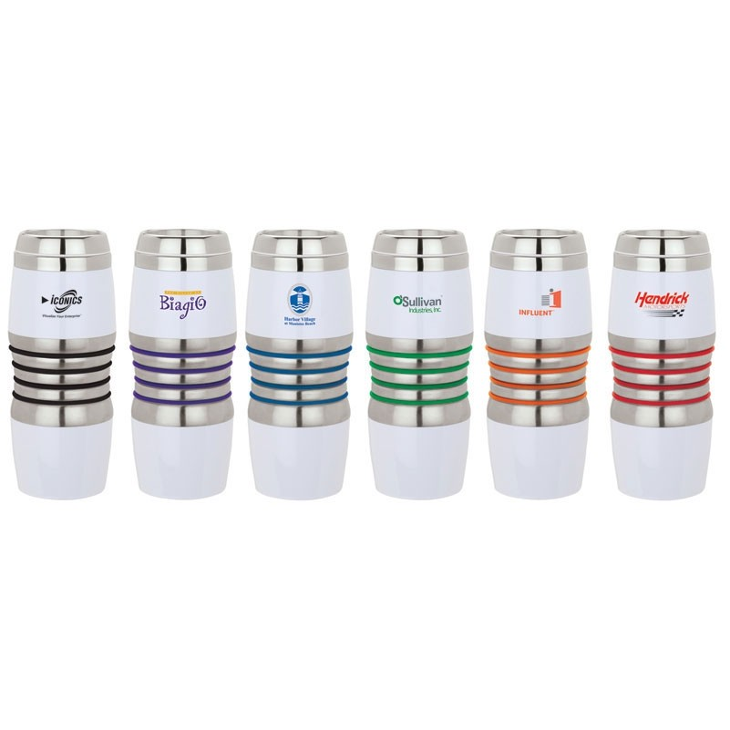 16 Oz. Acrylic/Stainless Steel Tumbler w/ Silicone Color Band