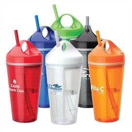 16 Oz. Acrylic Double Wall Tumbler w/Carry Handle & Straw