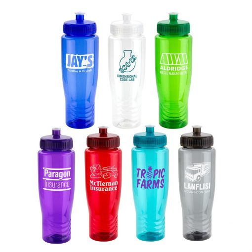 Sprint 28 oz PET Eco-Polyclear™ Bottle with Push-Pull Lid