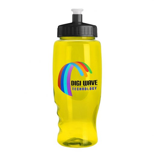 27 oz. Poly-Pure Transparent Bottle - Push Pull Lid - digital imprint
