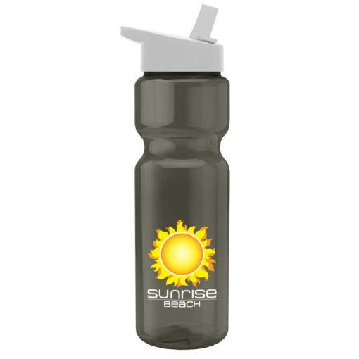 28 oz. Transparent Sports Bottle - Flip Straw Lid - - digital imprint