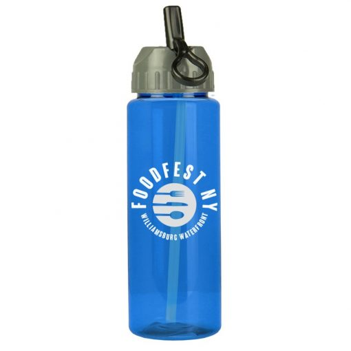 Guzzler 32 oz. Transparent Sports Bottle - Flip Straw Lid