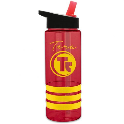 Sergeant 2 - Stripe 24 oz. Tritan™ Sports Bottle - Grip Stripes and Flip Straw Handle L