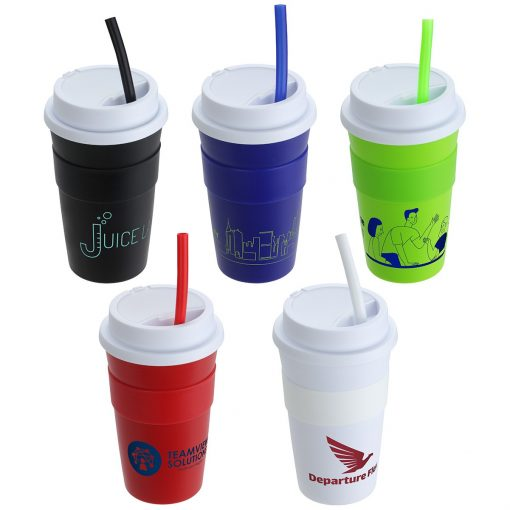 Bistro 14 oz Coffee Cup with Silicone Sleeve + Straw