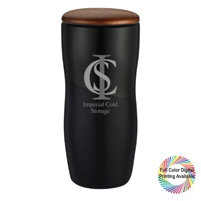 12 oz. Ceramic Tumbler with Wooden Lid