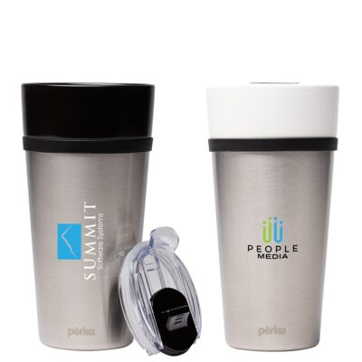 Perka Linden 14 oz. Double Wall Ceramic Tumbler w/ Stainless Steel Outer