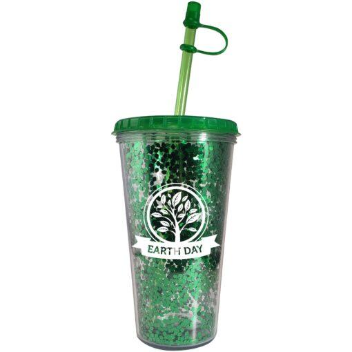 17 Oz. Shine Green Glitter Tumbler- Made in the USA